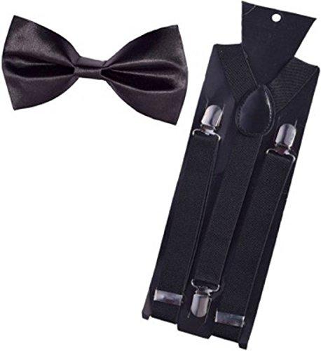 Kesari Men's Satin Suspender Belt & Bow (Black, Free Size)