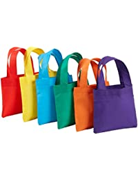 """24 Poly Non-Woven Tote Bags 6"""" Assorted Colors Party Bag"""