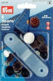 Prym 8-Piece 17 mm Brass Laurel Wreath Jeans Buttons, Antique Copper