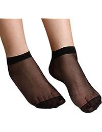 TRIXES 10 Paires de Socquettes Noires en Dentelle pour Dames Cristal