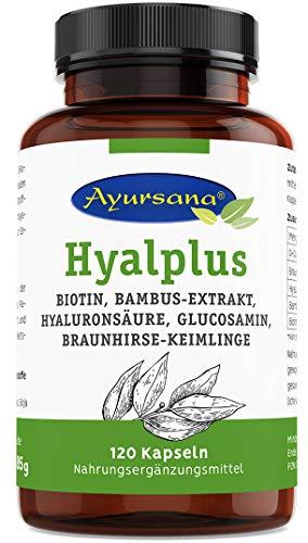 Ayursana - Hyalplus Kapseln mit veganer Hyaluronsäure, Bambus-Extrakt, Biotin, Glucosamin, Bio Braunhirse, gekeimt und fermentiert (120 Kapseln)