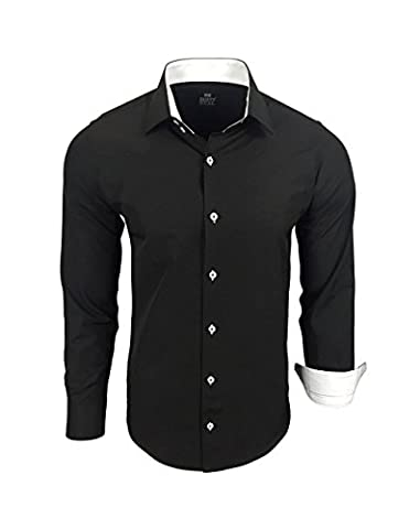 Rusty Neal chemise bicolore manche longue unie homme coupe slim