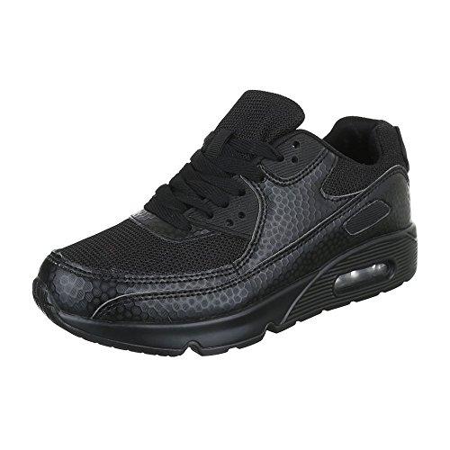 Ital-Design Sneakers Low Damenschuhe Sneakers Low Sneakers Schnürsenkel Freizeitschuhe Schwarz 906-5