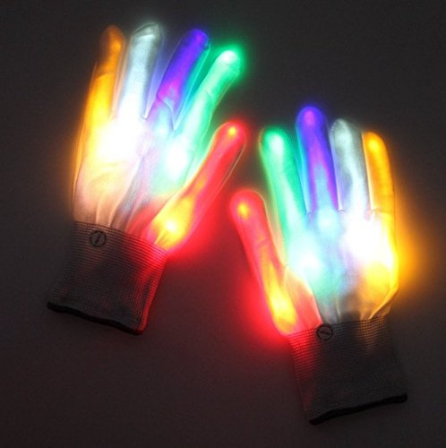 Lychee LED Light Up Gloves 6 Adjust Modes Lights Toys Rave Gloves for Kids&Adults Party/Light Show /Glow Party/Halloween/Christmas/Birthday Gift (Colorized)