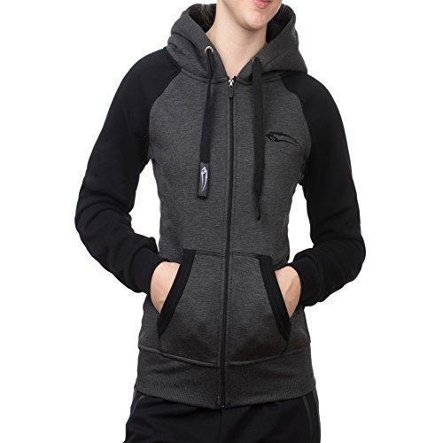 SMILODOX Damen Zip Hoodie MULTI Kapuzenjacke / Kapuzenpullover Sweashirts Zip Jacke, Farbe:Anthrazit/Pink, Größe:M