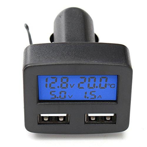 Wooya 12V 24V Universale Dual USB Caricabatteria da Auto con Voltmetro Amperometro Termometro Display LCD