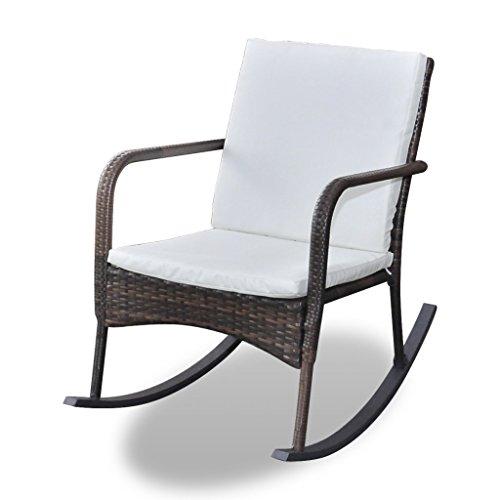 Festnight Ergonomisch Gartenstuhl Gartensessel Garten Stühle Schaukelstuhl aus Polyrattan für Wohnzimmer Terrasse oder Garten -Braun