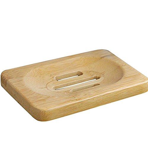 Bad Zubehör,Janly Natürliche Bambus Holz Badezimmer Dusche Seifenschale Dish Storage Holder Plat -