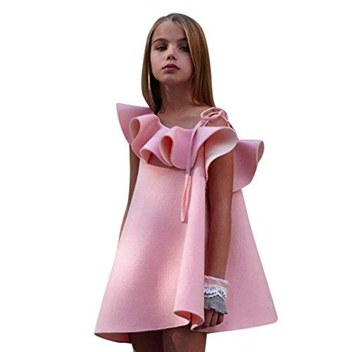 Mädchen Kleider, Longra Kleinkind Kinder Festliche Kleider Spaghetti-Kleid Trägerkleid Volant Kleid Mädchen Ärmellos Sommerkleid Künstliche-Seiden Kleider Prinzessin Party Kleid (Pink, 120CM 5Jahre) (Seide 120)
