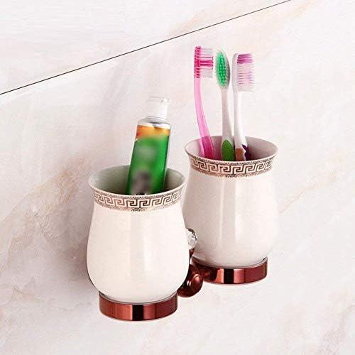 GZZ Doppi Tazze e staffe fissate al Muro del Tazza Bagno di Stile Europeo, Tazza del del Doppio spazzolino da Denti dell'hardware Domestico del Bagno 4a56a9
