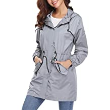 d0347245f2021 Aibrou Abrigo de Impermeable Ligero Chaqueta con Capucha para Mujer