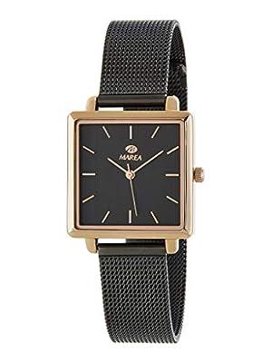 Reloj Marea Analógico Mujer Cuadrado B41247/3 Armis Milanesa Acero en Color Rosegold y Negro