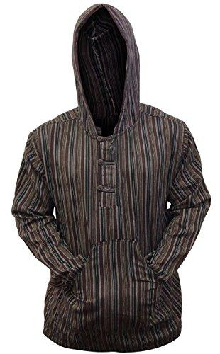 Shopoholic Fashion Mehrfarbig dharke Streifen Opa Kapuzenpulli Hemd, leicht Kaffee Mix
