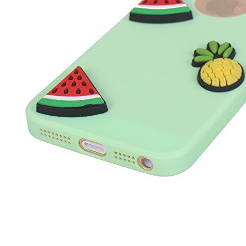 iPhone SE 3D Silikon Hülle Rosa Schleife Weiche Silikon Back Cover 3D Niedlich Frucht Muster Bumper Handyhülle Schale für iPhone SE / 5S / 5 Banane Sonnenblume