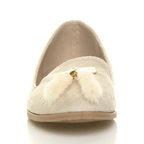 Damen Flach Pelz Quaste Mode Arbeit Trend Halbschuhe Slipper Ballerina Größe Beige