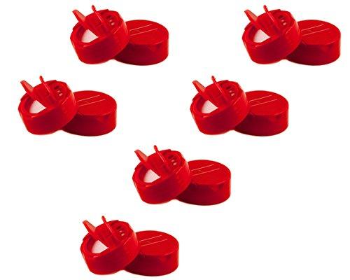 Spice Kunststoff POUR/Sift Mini lids- 48mm (13/10,2cm) mit Schaumstoff liner-bpa free-made in den USA rot - Jars Mini-plastik-mason