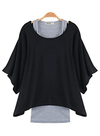 Miusol Damen bequeme Rundhals Fledermausärmel Batwing T-Shirt Longshirt Tunika one Shoulder Schulter schräg Tops Größe 36-44 (L/40/42, Schwarz)