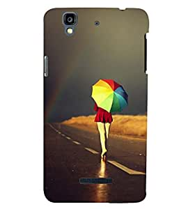 Printvisa Girl Walking With A Multicoloured Umbrella Back Case Cover for YU Yureka::Micromax Yureka AO5510