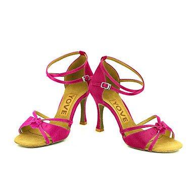 Scarpe da ballo-Personalizzabile-Da donna-Balli latino-americani / Salsa-Tacco su misura-Raso-Nero / Blu / Giallo / Rosa / Viola / Rosso Purple