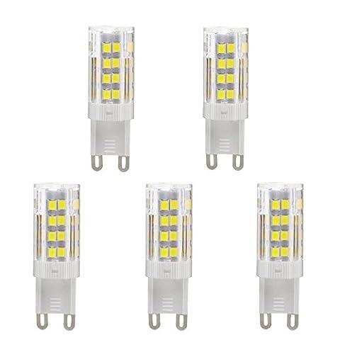 VOYOMO(TM) G9 LED Lampen, Kaltweiß, 5W, Ersatz für 40W Halogen-Lampe,6000-6500K, AC 200-240V, 5er