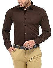 PSK Exports Men's Checkred Brown Slim Fit Formal Shirt Brown