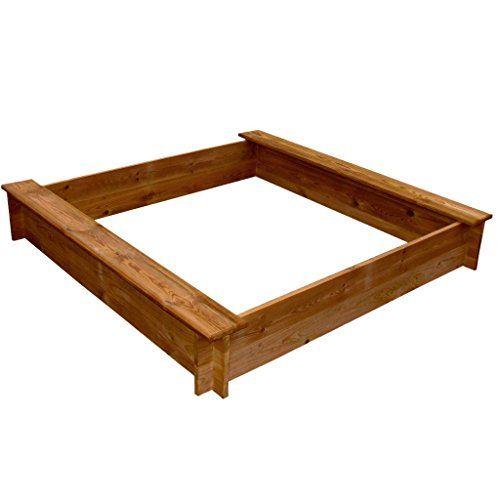 Anself Sandkasten Sandkiste Quadratisch aus Holz mit Spielplatz 120cm