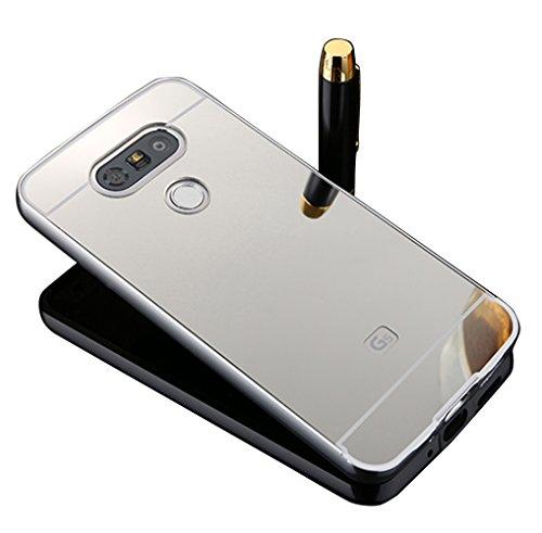 Vandot LG G5 Coque de Protection Etui Transparent Antidérapant Pour LG G5 Etui Protection Dorsale Étui Slim Invisible Housse Cover Case en TPU Gel Silicone Hull Shell-Blanc miroir design-Argent