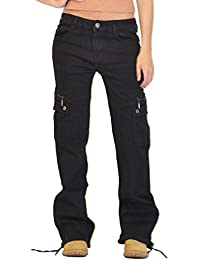 Glamour Outfitters Pantalon Cargo en denim - Pantalon Combat à Jambes Larges