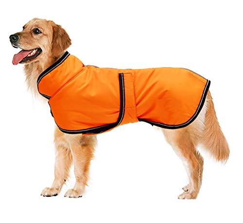 Reflective Dog Parka  Waterproof, Windprood, Snowproof Dog Jacket for Small Medium Large Dogs with Harness Hole-Orange-XL