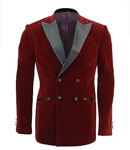 Mens Maroon Soft Velvet Double Breasted Blazer Satin Lapel Suit Jacket Tuxedo
