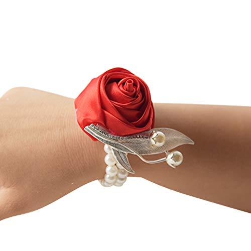 SHIDEDIAN 8 Farben, Handgelenkblumen Hochzeit Rose Handgelenk Corsage Künstliche Blume Dekoration Brautjungfer Corsage Handblume Handgelenk für Abschlussball, Hochzeit, Party, Baumwolle, rot, 3x3x3cm (Rose Rote Herzstück)