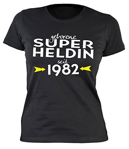 35 Geburtstag Damen Tshirt - Frauen 35 Jahre T-Shirt : geborene Super Heldin seit 1982 -- Geburtstagsshirt 35 Damenshirt Schwarz