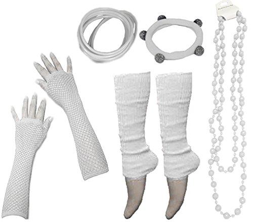 (A-Express 80er Damen Neon Beinstulpen Handschuhe Halskette Shamballa Tüll Fluo Ballett Verkleidung Party Tutu Kostüm Set)
