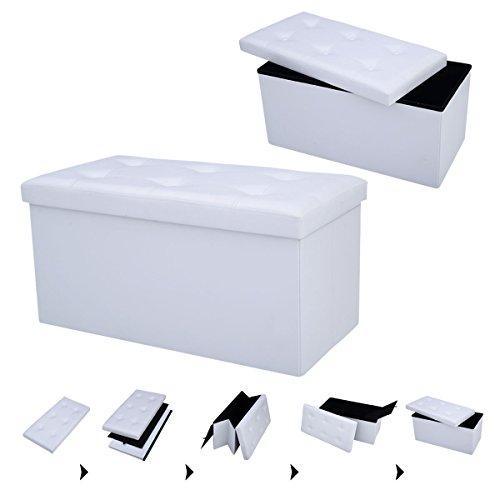 COSTWAY Sitzbank Sitzhocker Sitzbox Aufbewahrungsbox, Sitzwürfel Hocker, Polsterhocker faltbar, Truhe Bank, Sitztruhe PVC-Leder 76 x 38 x 38cm, Sitzkasten Farbwahl (Weiß) -