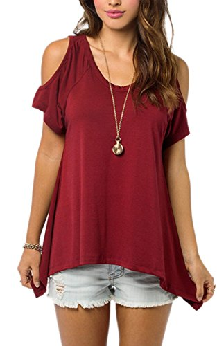 Zeagoo Damen Locker Bluse Top Schulter Frei T shirt Casual Party Rot