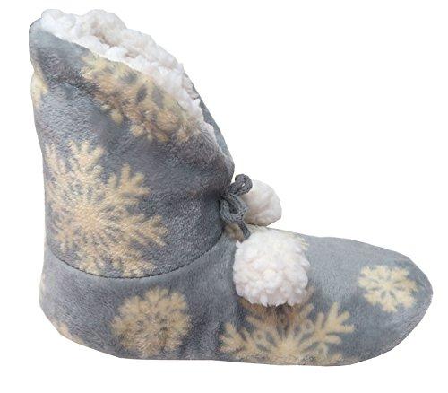 Damen Hausschuhe Hausstiefel gefüttert blau mit Schneeflocken und Bommel ABS Gr.38/39