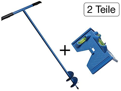 2 tlg Set Erdlochbohrer 1100mm + Pfostenwasserwaage 3 Libellen mit Magnet