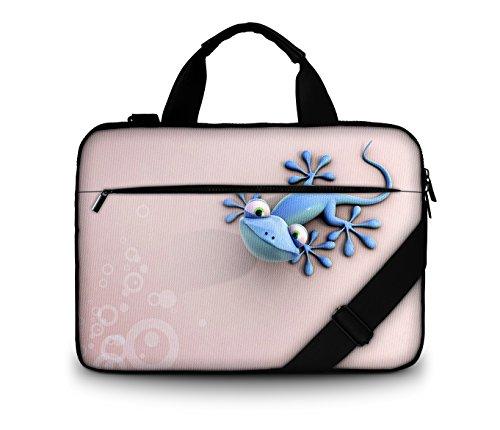 Luxburg® Design gepolsterte Business- / Laptoptasche Notebooktasche 13,3 bis 14,2 Zoll mit Schultergurt, Mehrzwecktasche, Motiv: Gecko