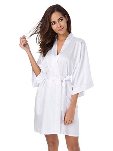 SIORO Raso Kimono Accappatoio Pigiama Pyjamas Donna Vestaglie Scollo a V Vestaglie Scollo Vestaglia da Notte Kimono Lungo Sleepwear, Bianco, S
