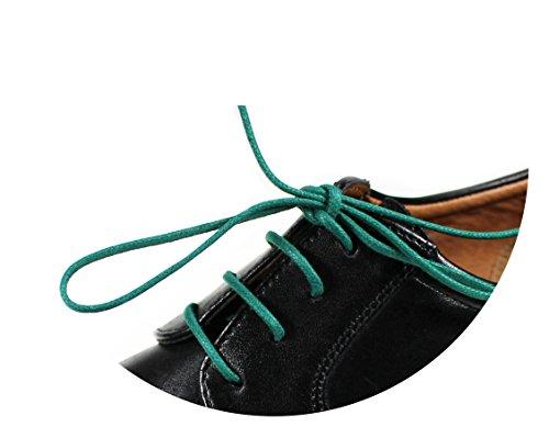 Loco!Laces- Gewachste, Bunte, farbige, runde Schnürsenkel für Business-Schuhe und Anzug-Schuhe! 80cm Länge 2,5 mm Durchmesser 3er Pack (3X Grün)