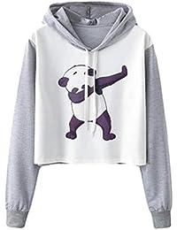 Gaddrt Femmes Long Manche Panda Imprimer Cordon Sweat à Capuche Raglan 8b8c4dd4917a