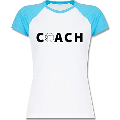 Volleyball - Volleyball Coach Trainer - zweifarbiges Baseballshirt / Raglan T-Shirt für Damen Weiß/Türkis