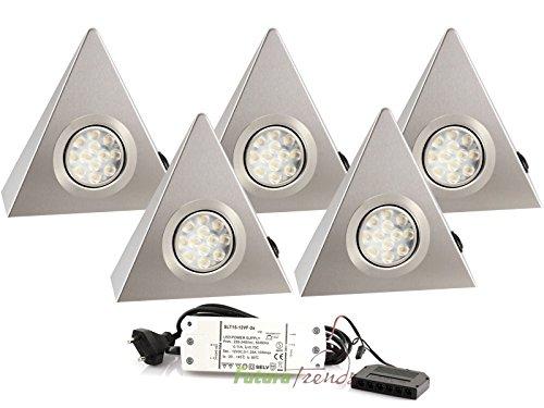 5er Set LED Dreieckleuchte Unterbauleuchte Edelstahl 3W HIGH LED SMD Warmweiß mit Schalter an jeder Leuchte
