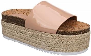Sandalia con pala brillante. Cuña combinada yute y corcho. Altura plataforma 4,5 cm.