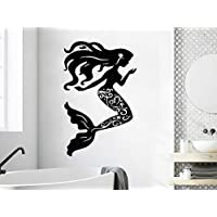 Vinyl Wall Decal Mermaid Sea Shells Nautical Wall Sticker Home Bathroom Decor Beauty Mermaid Style Wallpaper Vinyl Art 57x90cm