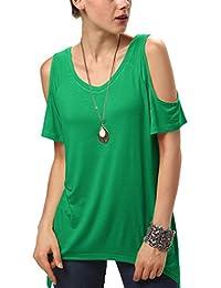 Urban GoCo Femmes Casual Grande Taille Hors épaule T-Shirt V-col Manches  Courtes d463a9ced08