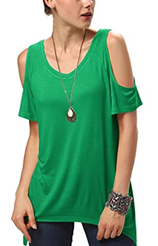 Urbancoco Damen Vogue Schulterfrei unregelmäßige sidetale Tunika Top Shirt (L, Grün)