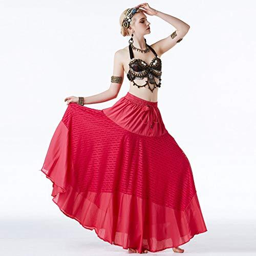 GLJJQMY Bauchtanz Kostüm Tribal Style Performance Set weiblichen klassischen ethnischen Tanz Kostüm dreiteilig Tanzkleid (Color : Rose red, Size : (Stammes Ethnischen Kostüm)