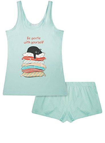 oodji Ultra Damen Pyjama Set aus Bedruckten Shorts und Trägertop Türkis (6573P)