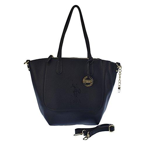 U.S.POLO ASSN. Handtasche, breite Griffe, mit Schulterriemen 22-42x12x30 cm Schwarzes Silber